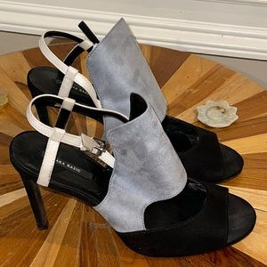 Grey and Black Zara Open Toe Heels